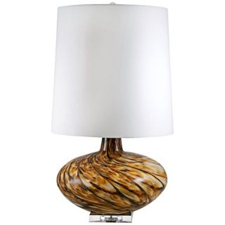 Swirl Amber Art Glass Table Lamp   #V2593