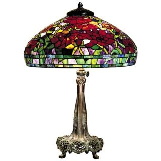 Red Peony Replica Bronze Dale Tiffany Table Lamp   #U8928