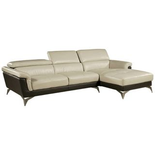 Elloise 2 Piece Two Tone Leather Sofa Set   #Y3105