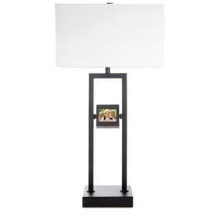 Digital Photo Black Metal Table Lamp with White Linen Shade   #U2366