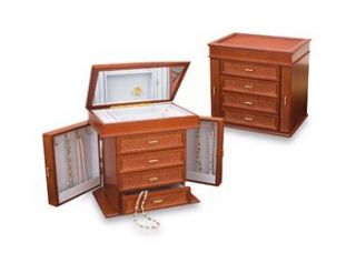 Reed and Barton Ava Jewelry Box Chest Cherry Wood MSRP $200 00 New