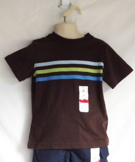 Jumping Beans Boys Brown Striped Short Sleeve T Shirt Tee Sizes 2T 3T