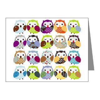 Gifts  Animal Note Cards  Colorful Owls 1 Note Cards (Pk of 10