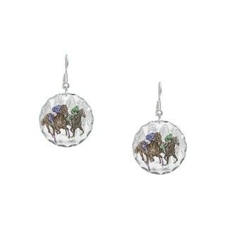 Derby Gifts  Derby Jewelry  Thoroughbred Horse Race Earring Circle