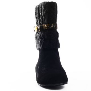 Dolcezza Flat Boot   Black/Gold, Pastry, $65.99