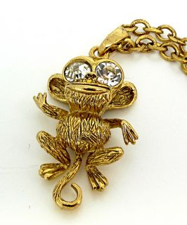 Kenneth Jay Lane KJL Gold Crystal Monkey Necklace