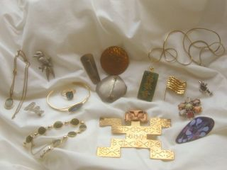 Lot Antique Vintage Jewellery Arts Crafts Keswick Jade Aztec