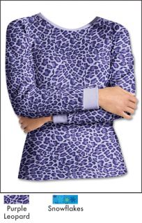 Hanes Womens Thermal Crew Shirt Style 24707 Purple Leopard Snowflakes