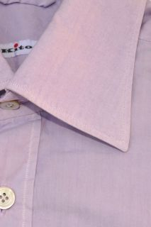 new nwt KITON NAPOLI men sport shirt lilac cotton 40   15.75 authentic