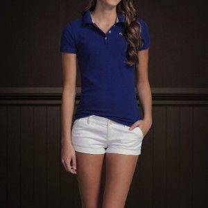 Abercrombie Fitch Women Polo Shirt Top L Crescent Bay Authentic