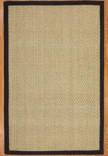 Lancaster 5x8 Black 100 All Natural Seagrass Area Rug Carpet New