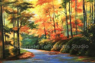 Autumn Stream Original Nature Canvas Art Oil Painting