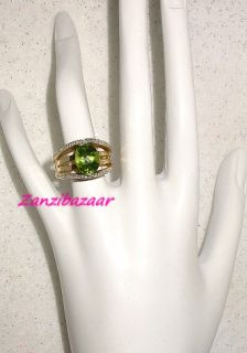 Laura Ramsey 14k Yellow Gold Peridot Diamond Bridge Ring