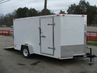 New 7x12 Enclosed Lawn Mower Utility Trailer w Ramp V Nose