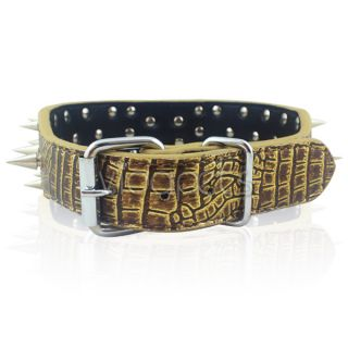 23 26 Leopard Leather Spiked Dog Collar Pitbull Bully Spikes Extra