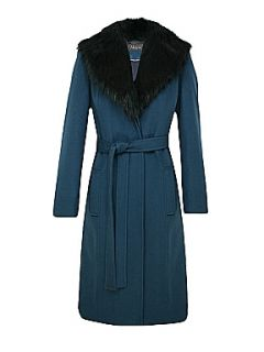 Alexon Long green belted faux fur collared coat Green