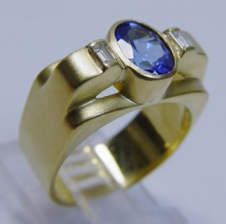 Designer Sam Lehr 18K Gold Tanzanite Diamond Ring Video Estate Signed