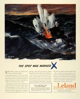 1944 Ad Leland Electrical Engineering Motor Generator German Warship