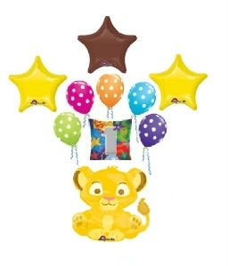 Disney Lion King Simba First 1st Birthday Balloons Decorations Party