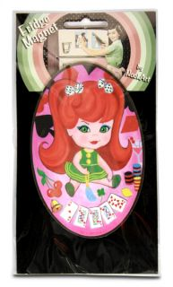 Cherry Girl Retro Rockabilly Fridge Magnet Refrigerator