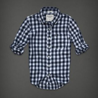 Abercrombie Fitch Mens Shirt Shaw Pond Plaid Button Down Navy Blue s