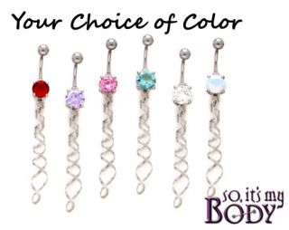 Twist Silver Long Dangle Gem Belly Ring Choose Color