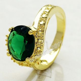 Brand Jewellery Antique Womens 18K Yellow Gold Filled 9ct Emerald