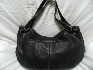 Luce Large Black Leather Hobo Slouch Carryall Tote Purse Boho