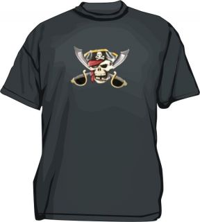 Skull Crossed Swords Jolly Roger Pirate Mens Tee Shirt