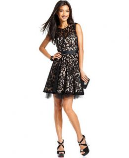 Betsy & Adam Dress, Sleeveless Belted Lace A Line   Womens Dresses