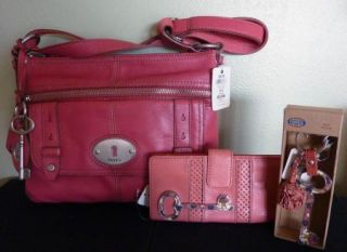 Fossil Maddox Pink Red Top Zip Leather Crossbody Handbag w Wallet