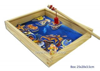 Magnetic Fishing Game Wooden Box Kids Childrens 11 Fish Rod