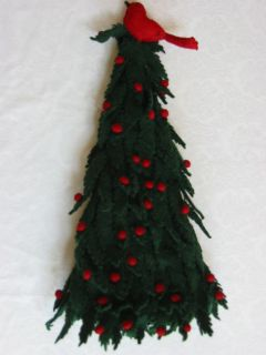 Mackenzie Childs LG Green Red Felt Tabletop Christmas Tree w Bird Pom
