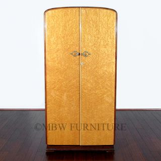 Antique English Bird's Eye View Maple Art Deco Armoire Wardrobe