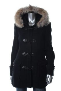 Marc New York New Black Wool Zip Front Coyote Fur Hooded Coat Jacket