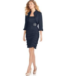 Jessica Howard Petite Dress and Jacket, Empire Waist Tiered Skirt