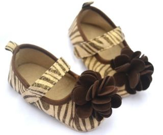 Zebra Brown Mary Jane Infant Soft Sole Kids Toddler Baby Girl Shoes