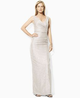 Lauren Ralph Lauren Petite Dress, Sleeveless Metallic Jersey Gown
