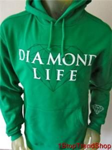 Diamond Supply Co Life Skate Pullover Hoodie Mens Green Size Medium $