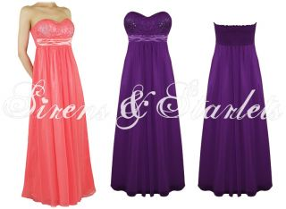 PURPLE STRAPLESS FLOATY CHIFFON MAXI PARTY COCKTAIL EVENING DRESS