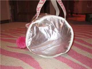 Victorias Secret Pink Silver Metallic Pom Pom Duffle Bag Travel Gym