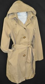 New Michael Kors Womens Hooded Trench Coat Belt Khaki Size Medium