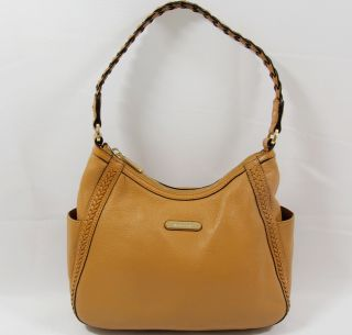Michael Kors T Z Medium Top Zip Tan Camel Leather Hobo Crossbody Hand