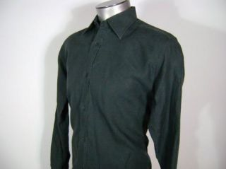 Gucci Black Linen Mens Dress Casual Shirt Sz 41 16 Italy Button Front
