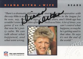 Line Portraits Wives Autograph Diana Ditka Auto Chicago Bears