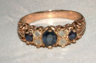 Carat Gold 3 Stone Blue Sapphire Diamond Ring Nickerla