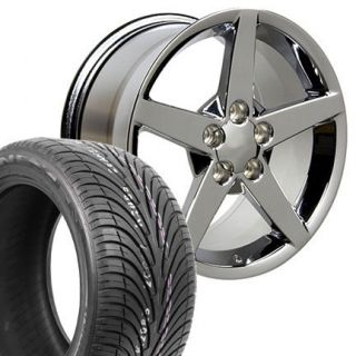 17 Chrome Corvette C6 Wheels Set of 4 Rims ZR Tires Fit Camaro SS