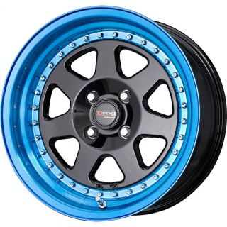 Drag Wheels DR 27 15x7 4x100 +10 Black Blue Lip Rims 240sx Miata Eg Ek
