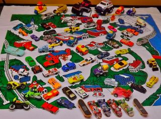 Large Set of 73 Diecast Toy Cars in Matchbox City or Country Hotwheels