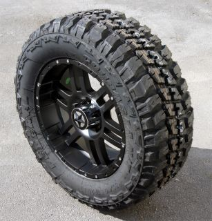 20 Flat Black Wheels Tires Dodge 1500 35x12 50x20